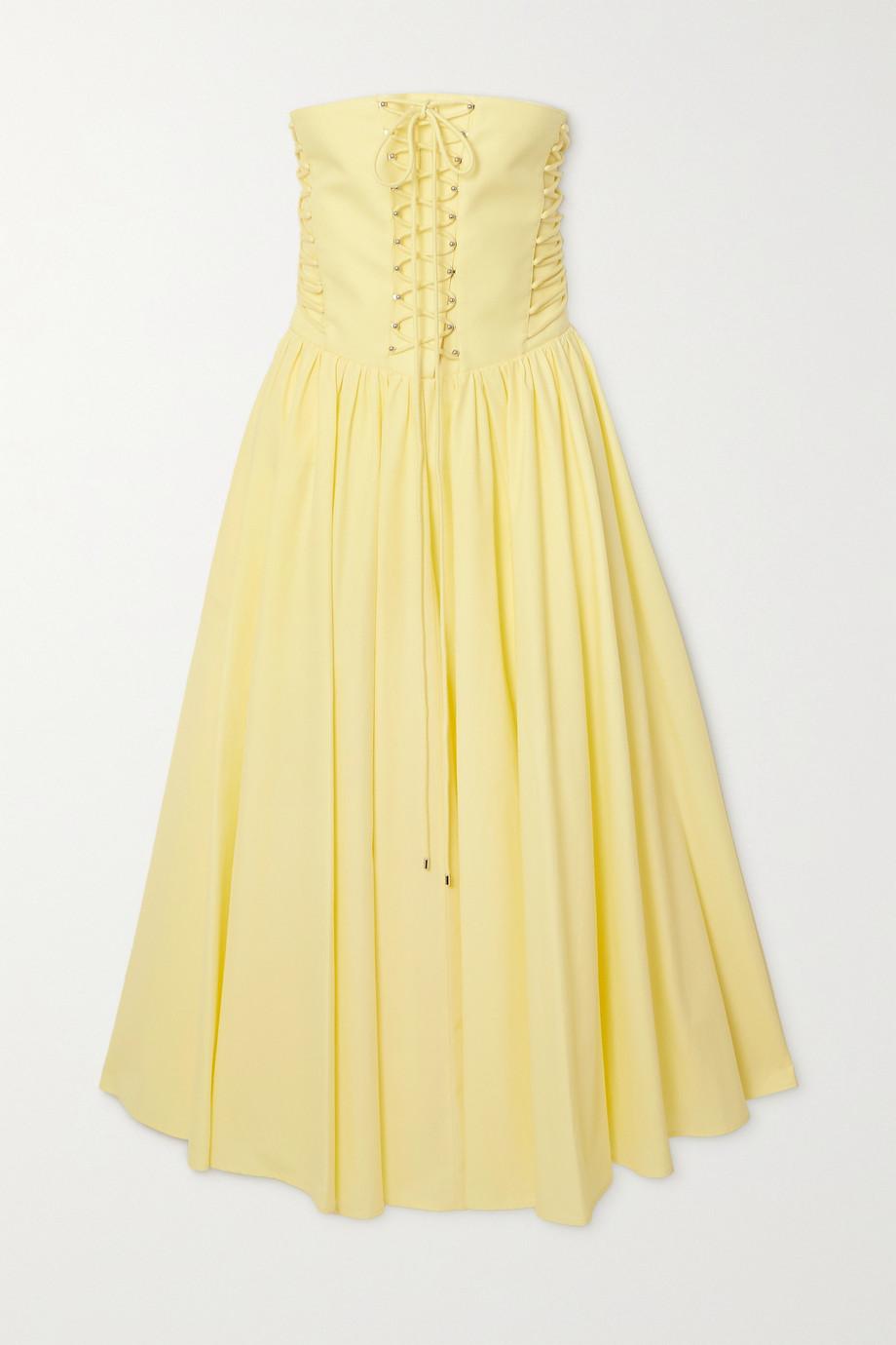 Philosophy di Lorenzo Serafini Strapless lace-up cotton-poplin midi dress