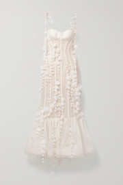 Zimmermann Wild Botanica open-back embellished linen and silk-blend gown