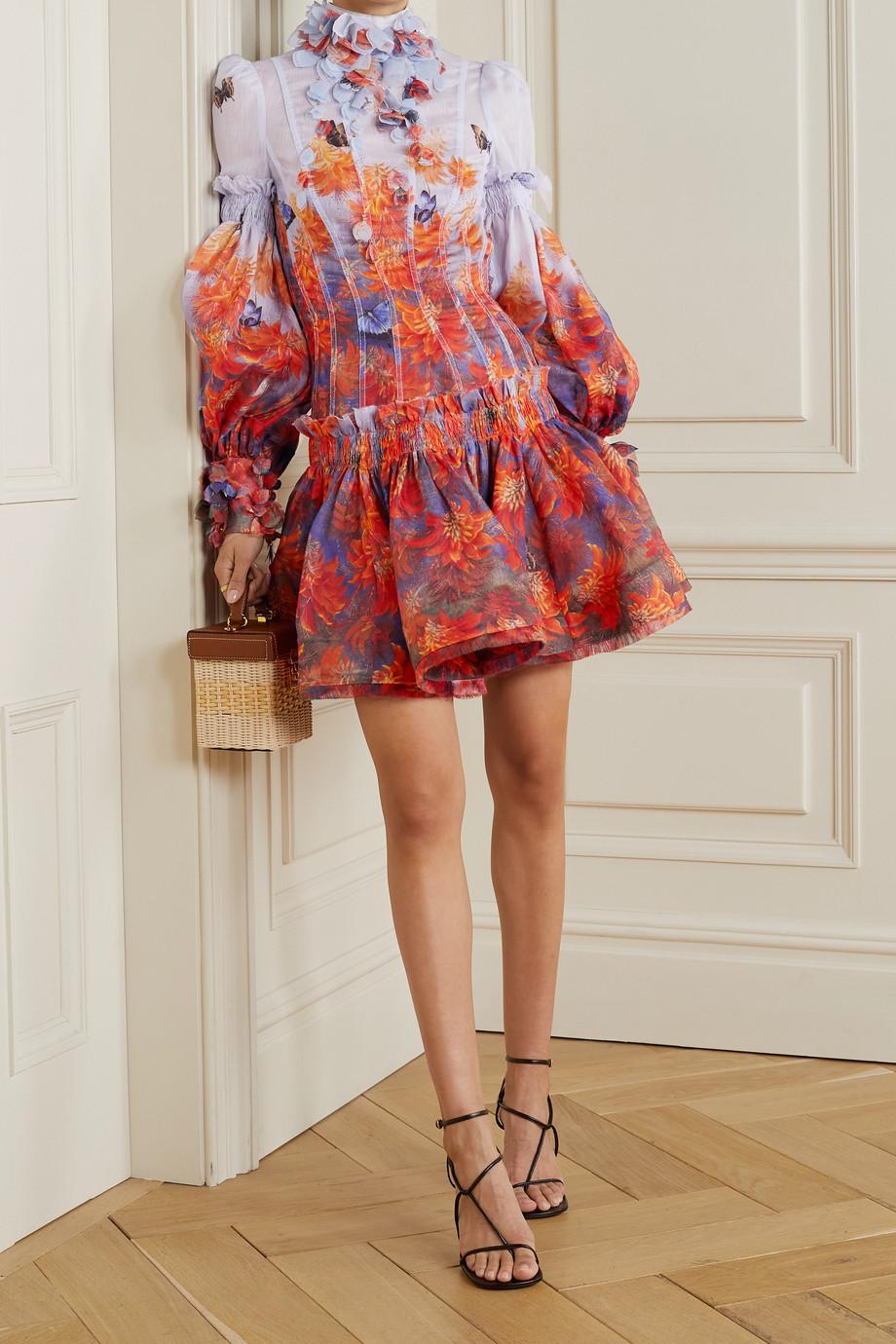 Zimmermann Wild Botanica open-back appliquéd floral-print linen and silk-blend mini dress
