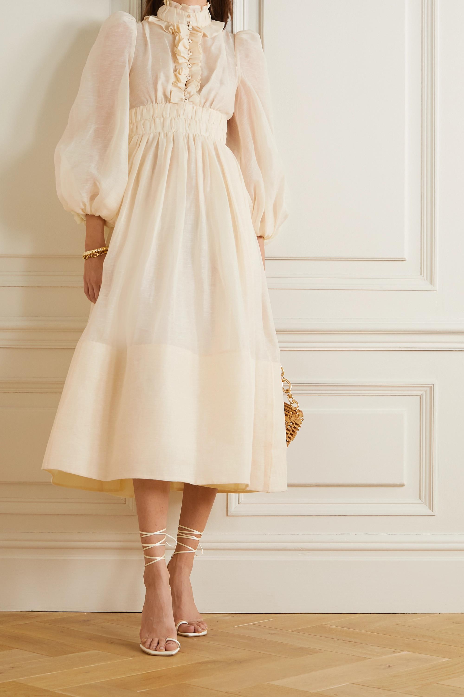 Zimmermann Wild Botanica ruffled gathered linen and silk-blend gown