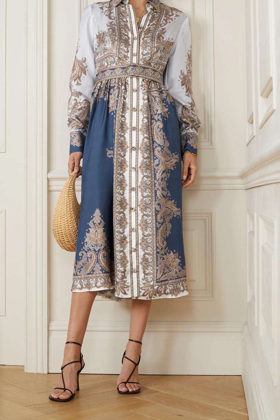 Zimmermann Luminous Midi-Hemdblusenkleid aus Seiden-Twill mit Paisley-Print, Schluppe und Gürtel