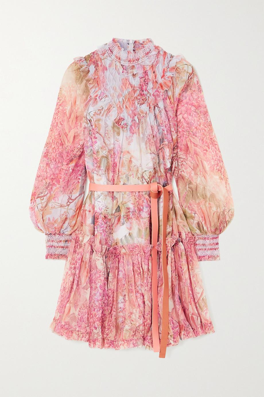 Zimmermann Wild Botanica smocked floral-print silk-crepon mini dress