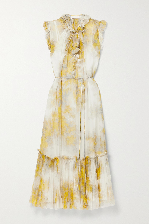 Zimmermann Wild Botanica belted ruffled floral-print silk-crepon midi dress