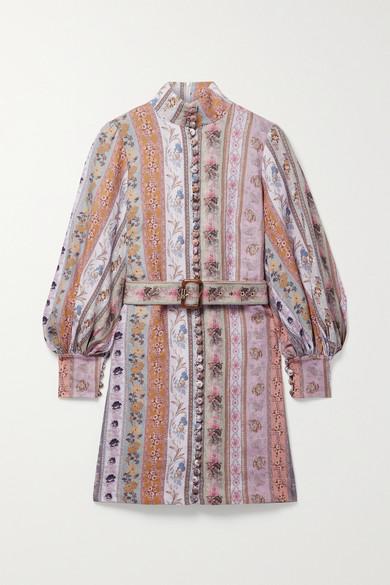 Zimmermann Linens LUMINOUS BELTED FLORAL-PRINT LINEN MINI DRESS