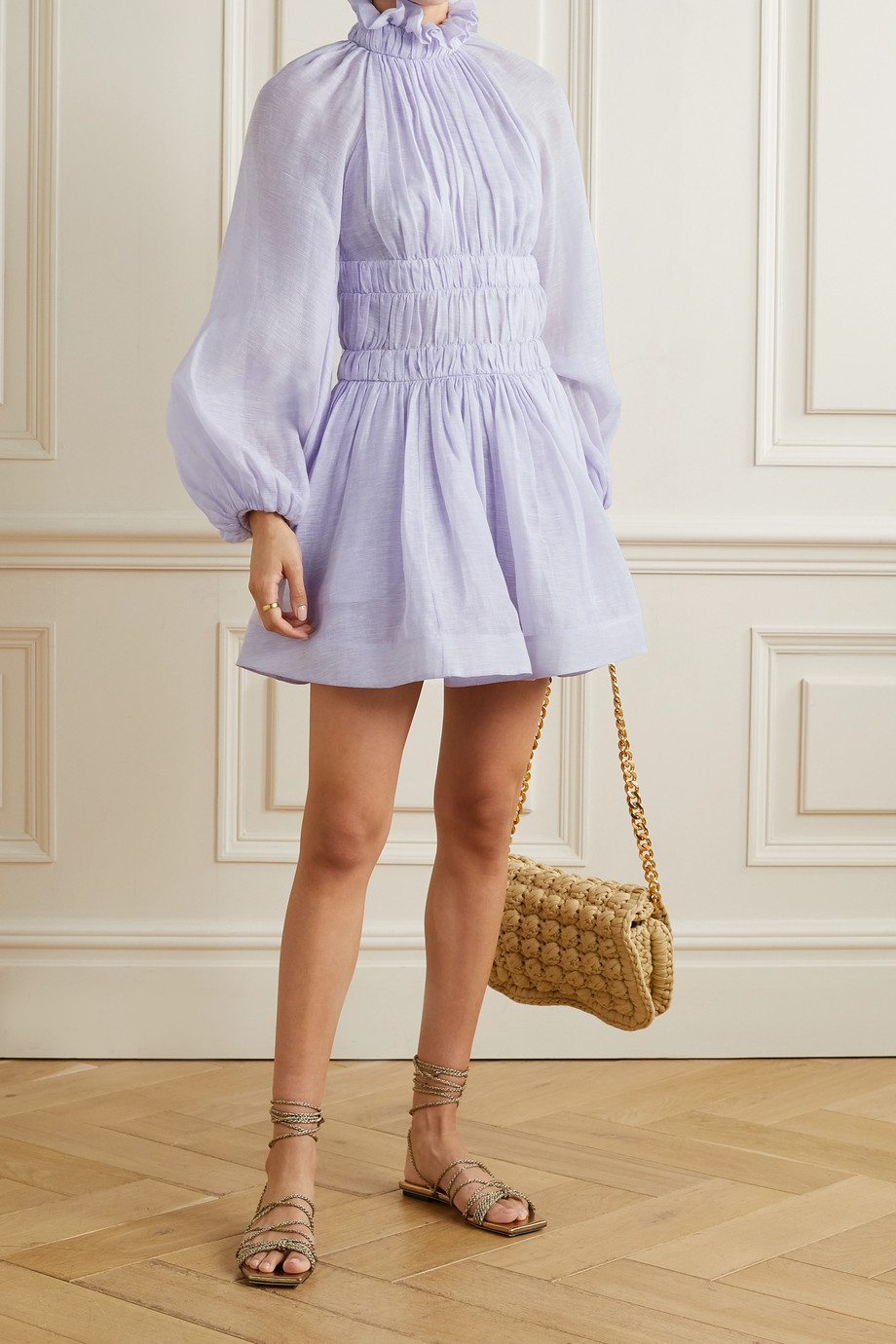 Zimmermann Luminous open-back gathered linen and silk-blend mini dress
