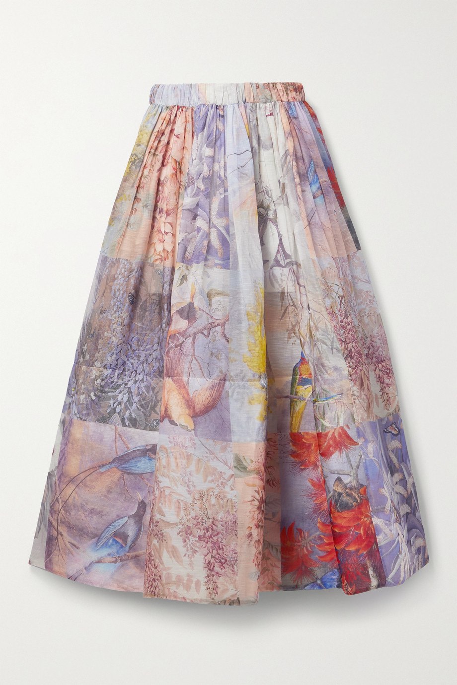 Zimmermann Wild Botanica gathered floral-print linen and silk-blend maxi skirt