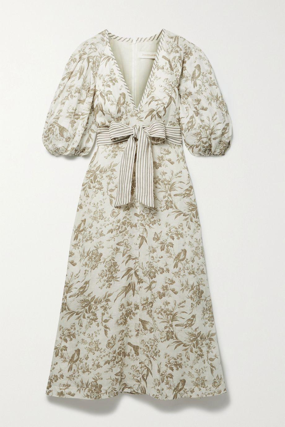 Zimmermann Belted floral-print linen midi dress