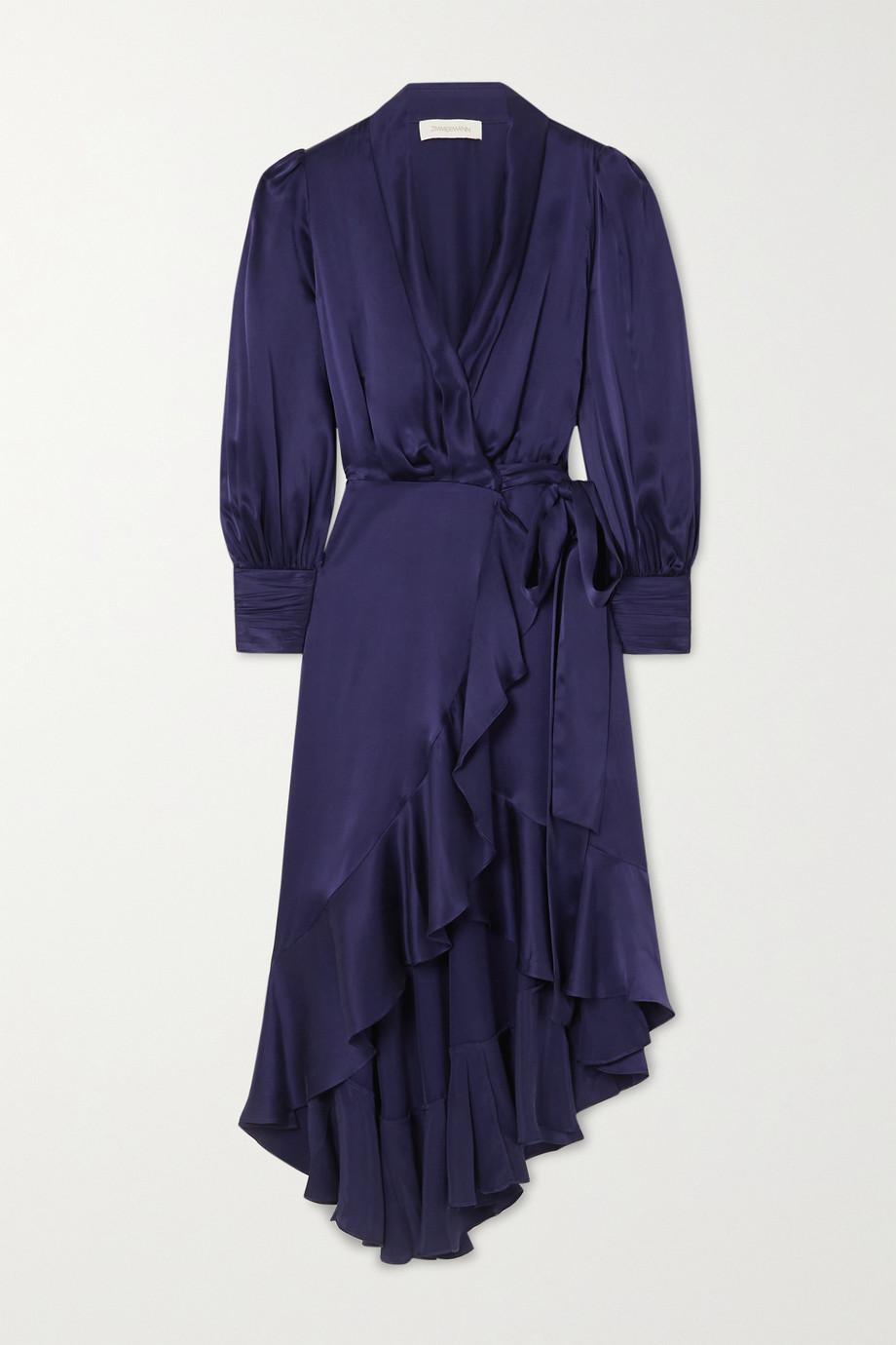 Zimmermann Asymmetric ruffled silk-satin wrap midi dress