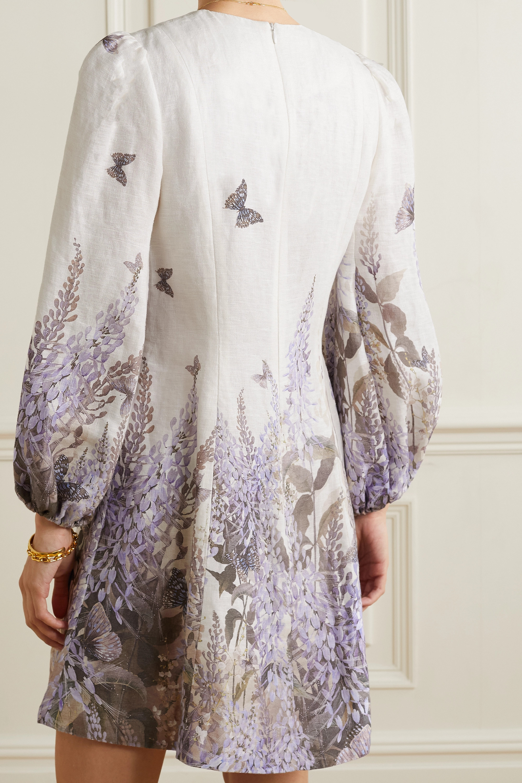 Zimmermann Mini-robe en lin imprimé à appliqués et à découpes Luminous