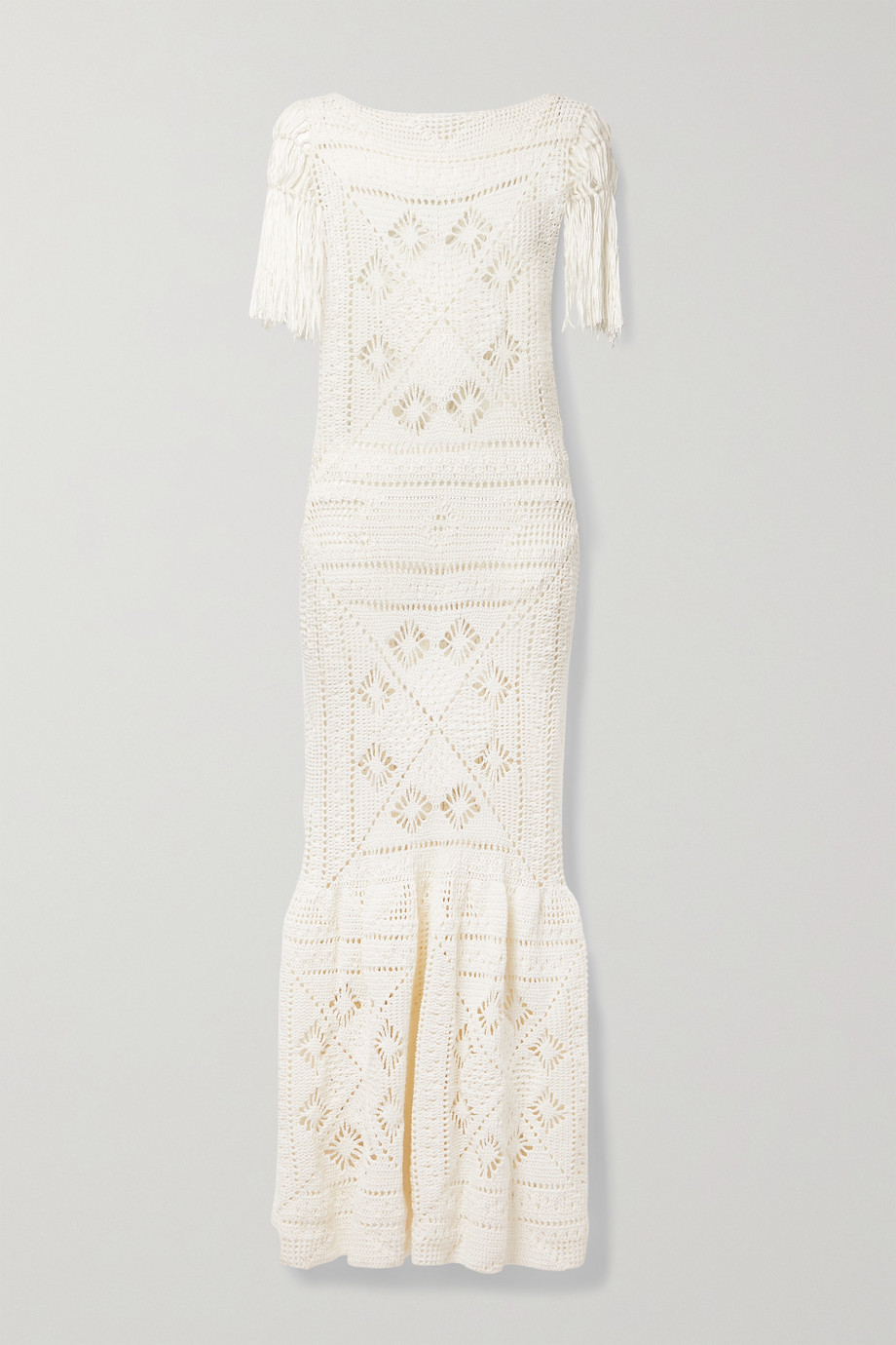 Zimmermann Candescent fringed crocheted cotton maxi dress