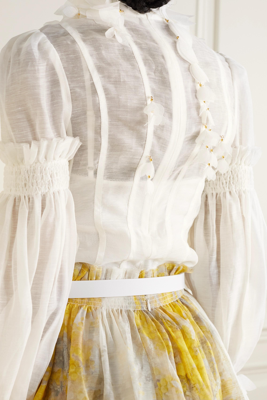 Zimmermann Botanica Wattle appliquéd gathered linen and silk-blend blouse