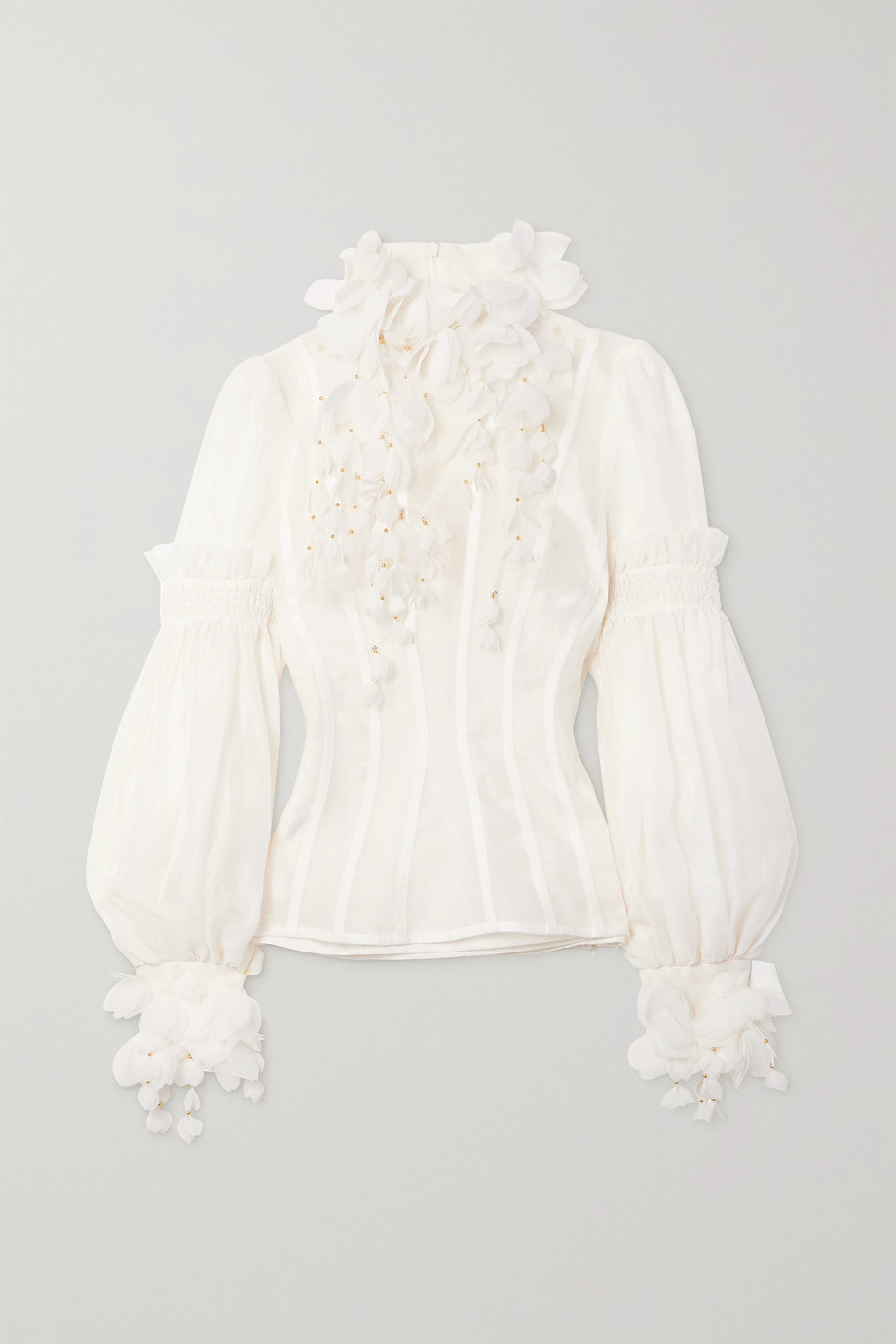 Zimmermann Botanica Wattle appliquéd gathered linen and silk-blend blouse