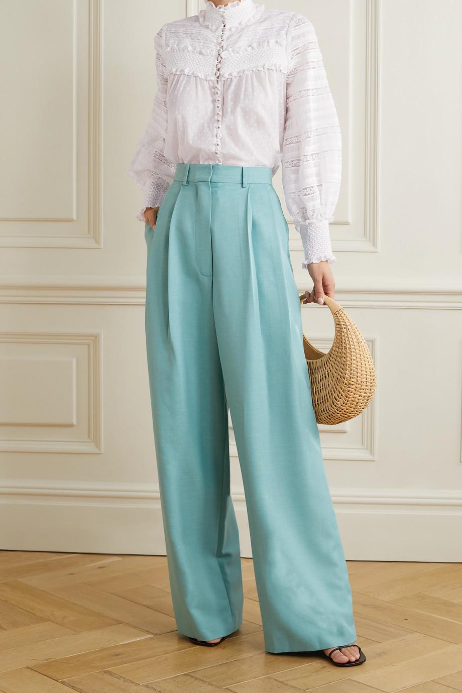 Zimmermann Candescent crochet-trimmed smocked polka-dot cotton-voile shirt
