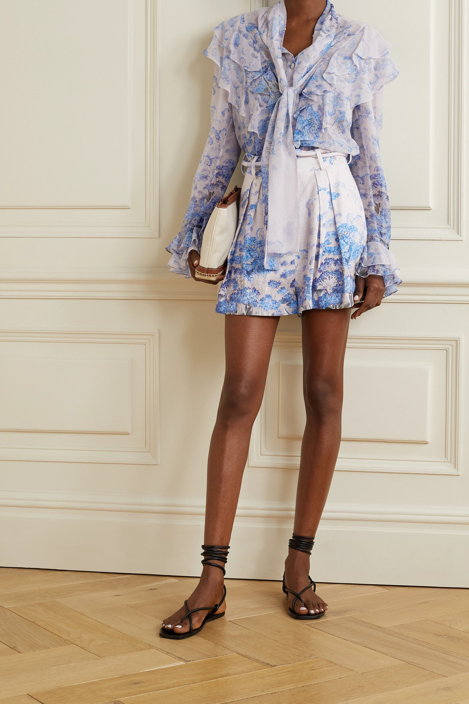 Zimmermann Luminous belted pleated floral-print linen shorts