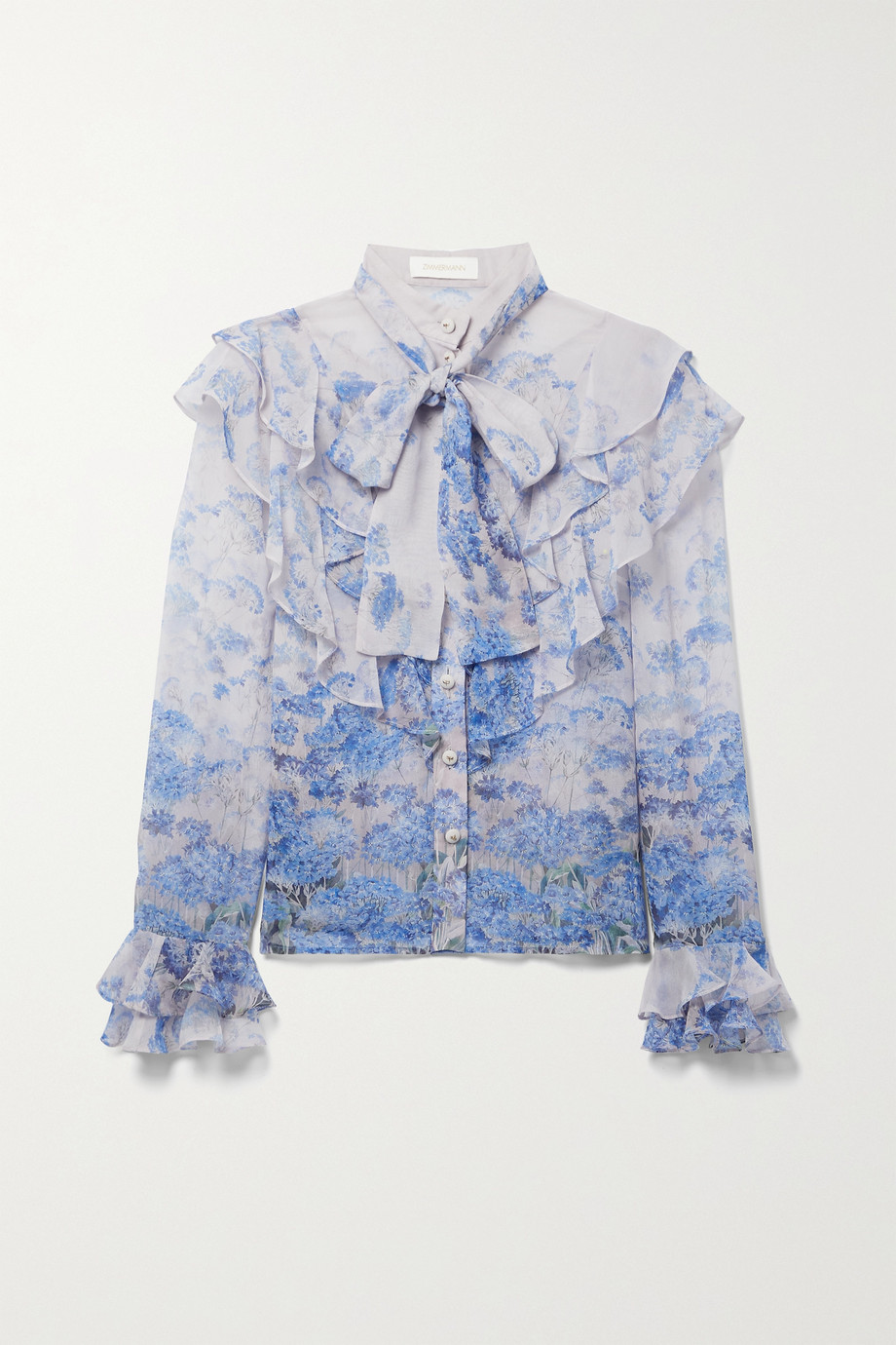 Zimmermann Luminous ruffled floral-print cotton and silk-blend blouse