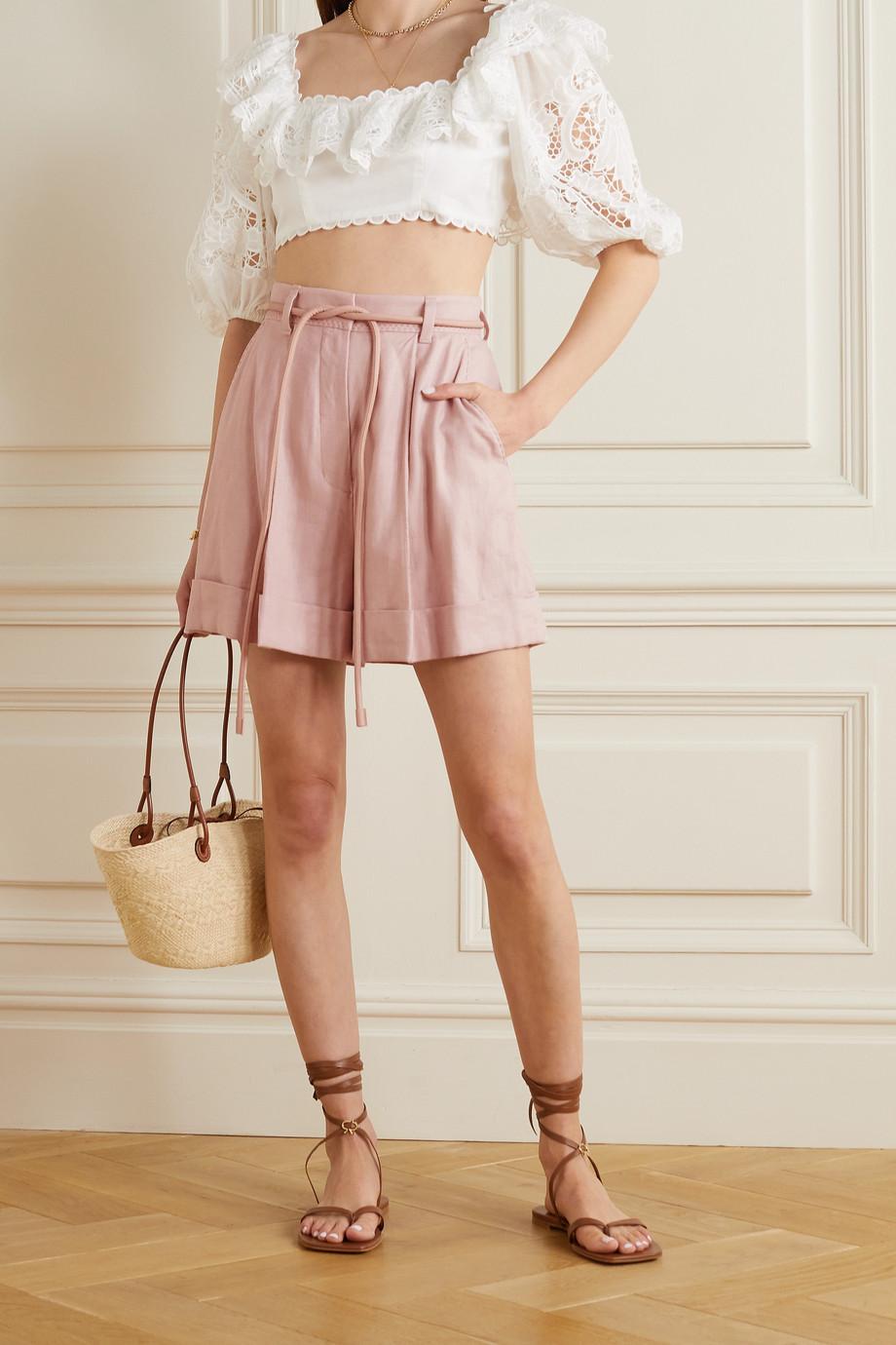 Zimmermann Luminous belted linen-blend twill shorts