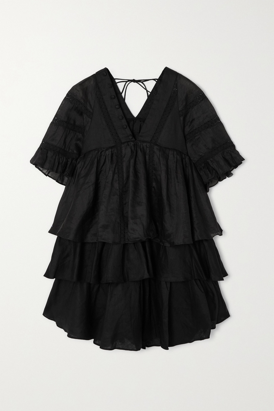 Joslin + NET SUSTAIN Ellie crochet-trimmed ruffled linen mini dress