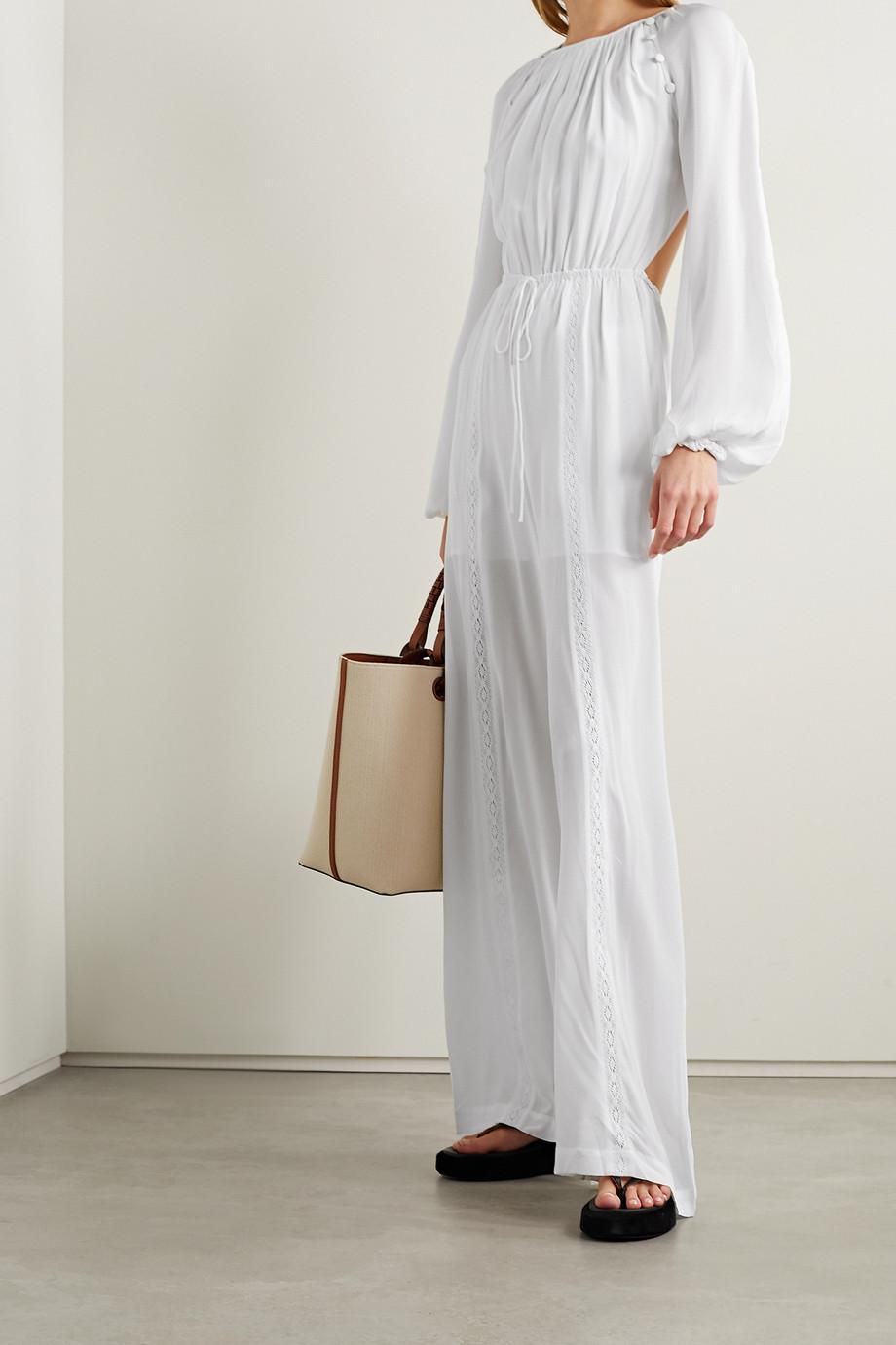 Joslin Combi-pantalon dos ouvert en crêpe de soie à finitions en crochet Lois - NET SUSTAIN