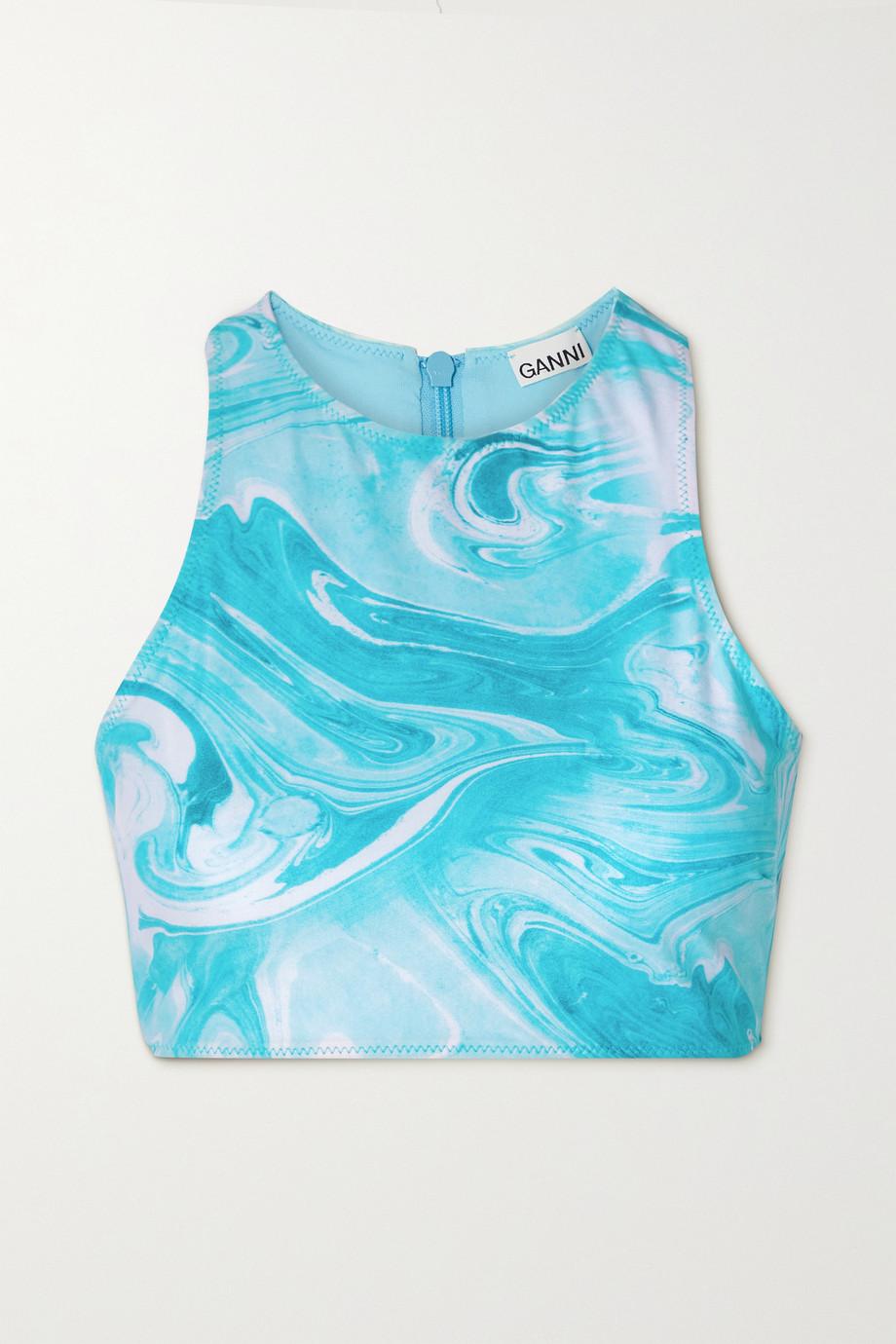 GANNI Printed recycled bikini top