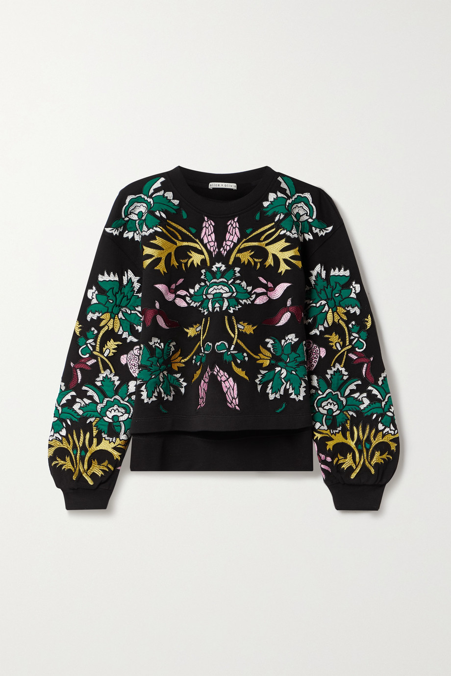 Alice + Olivia Gaia appliquéd embroidered cotton-jersey sweatshirt
