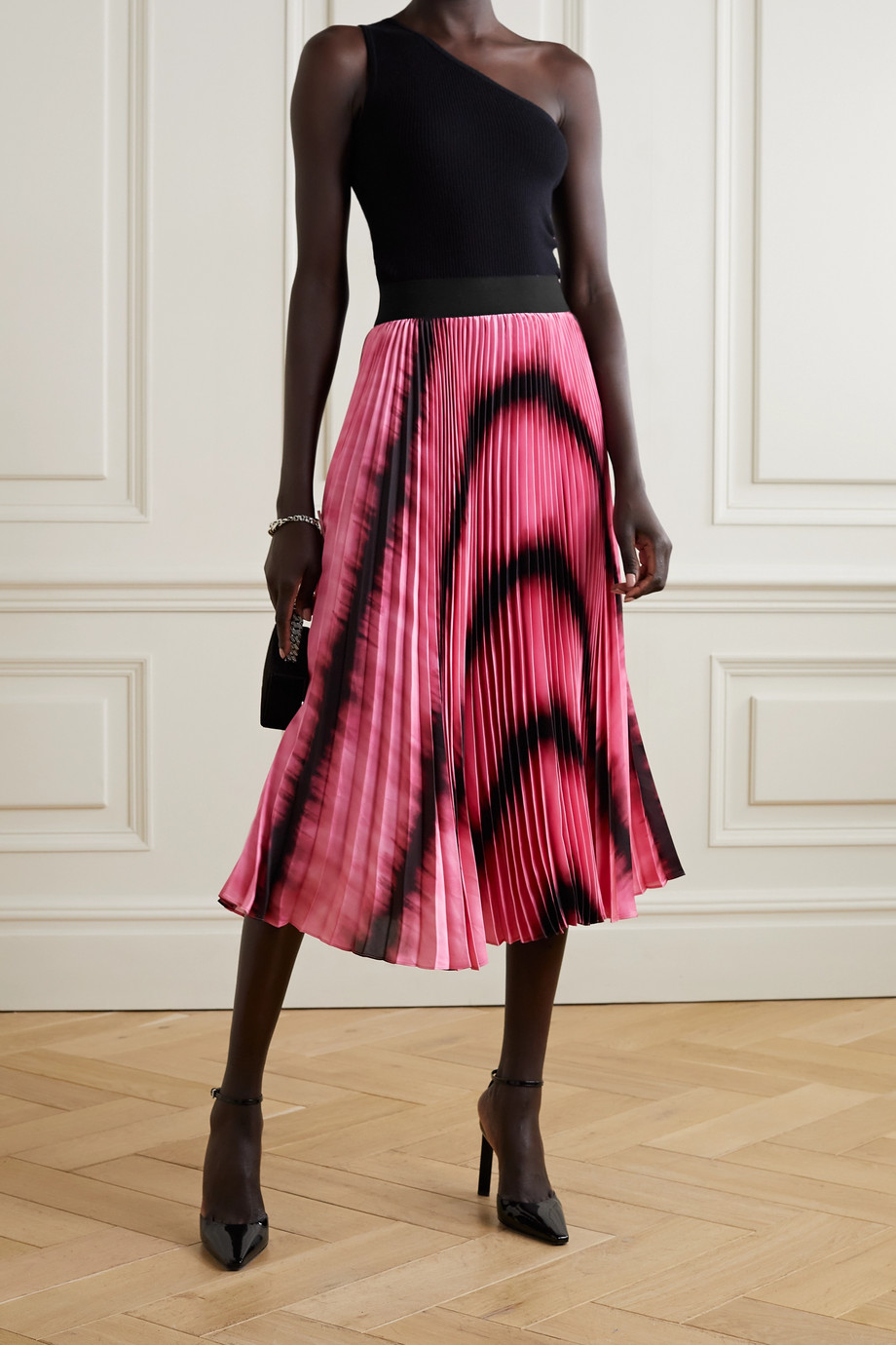 Alice + Olivia Katz tie-dyed pleated satin midi skirt