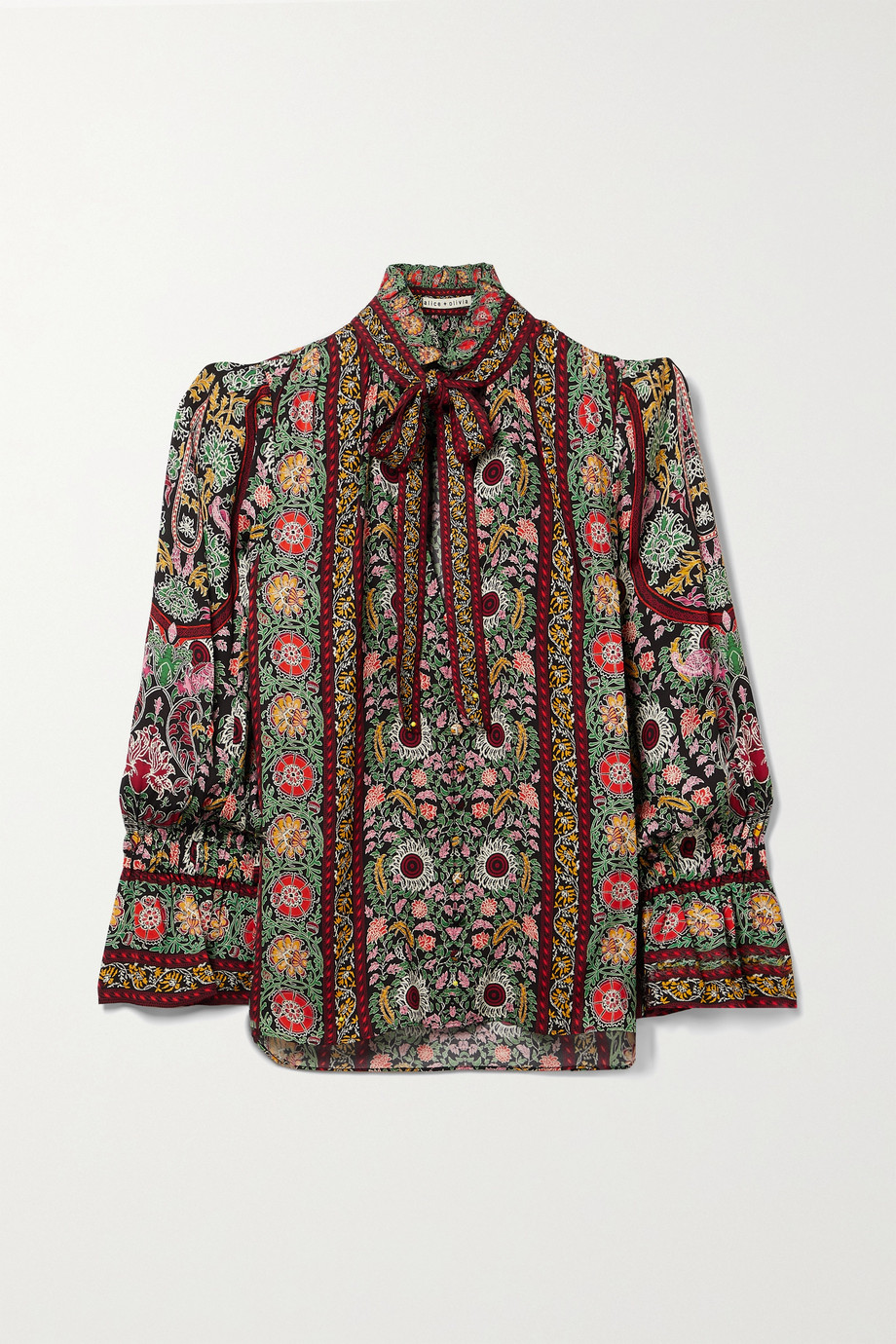 Alice + Olivia Reilly pussy-bow floral-print woven blouse