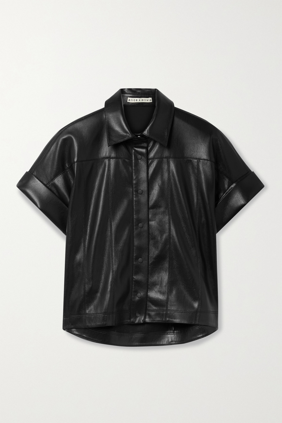 Alice + Olivia Edyth paneled vegan leather shirt