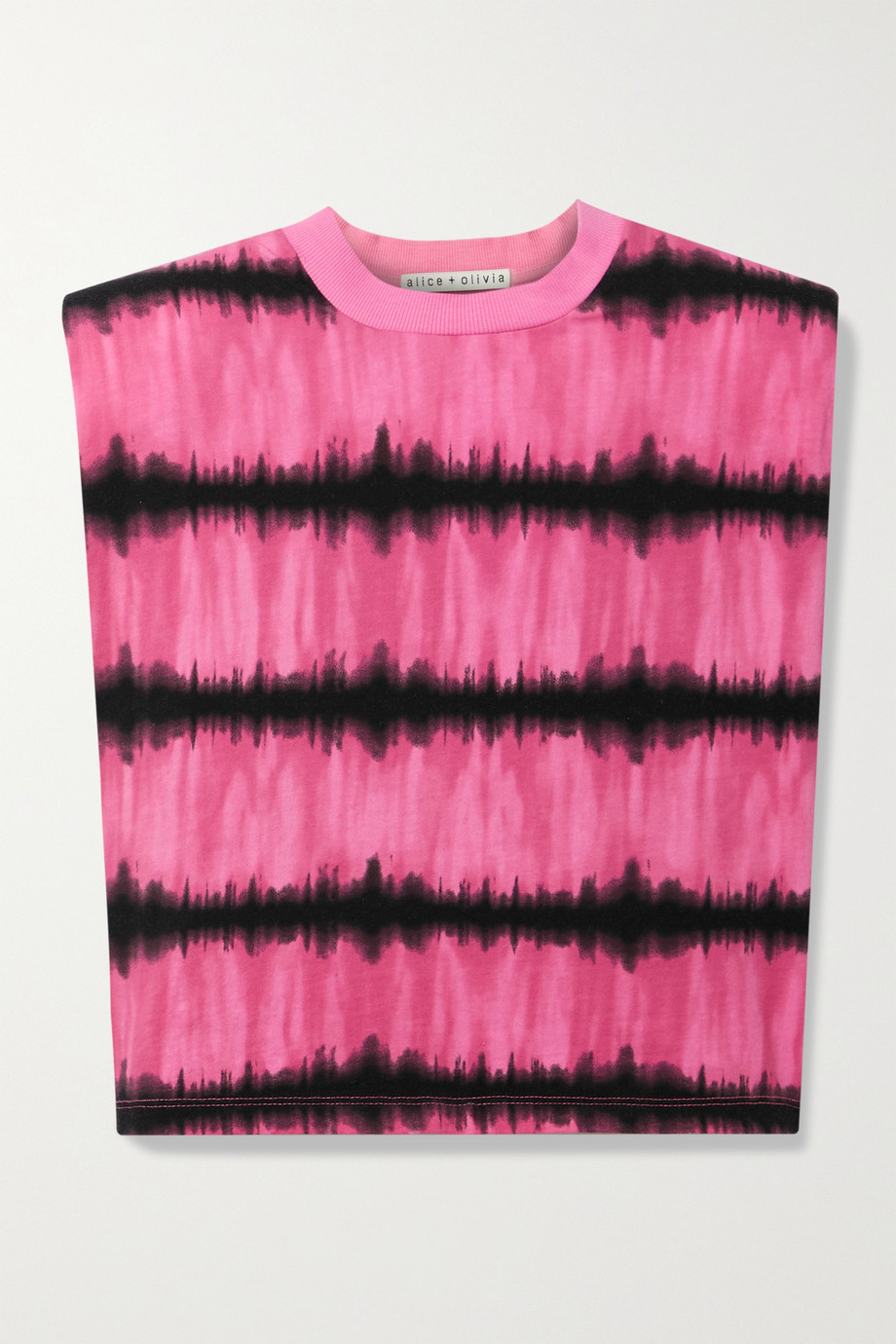 Alice + Olivia Desma cropped tie-dyed cotton-jersey tank