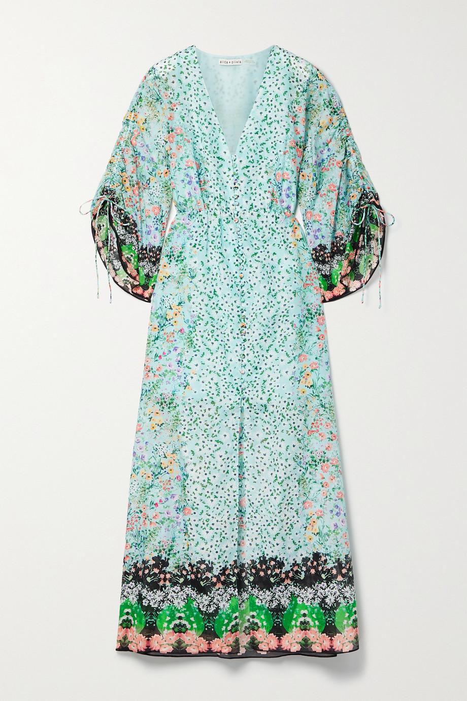 Alice + Olivia Arlinda floral-print cotton and silk-blend maxi dress