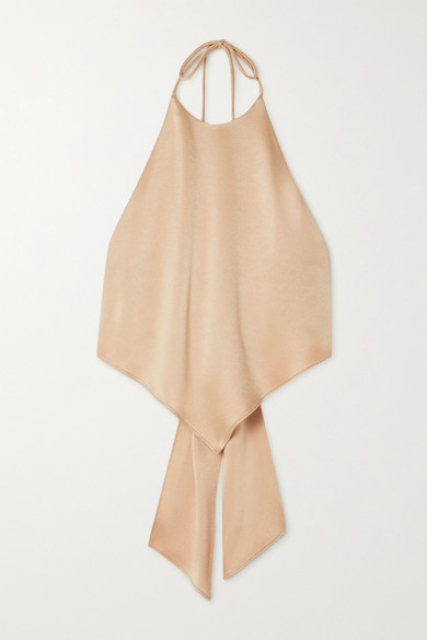 Alice And Olivia Tops FRENCHIE BOW-DETAILED SATIN HALTERNECK TOP