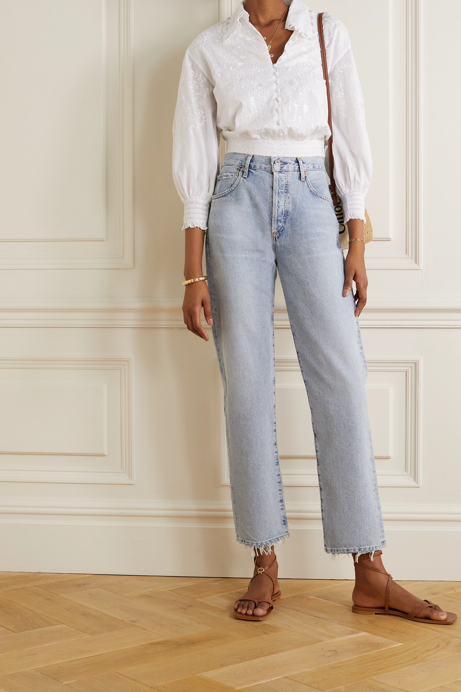 Alice + Olivia Onella cropped embroidered cotton blouse