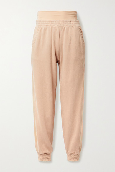 Alice And Olivia Rio Layered Striped Cotton-jersey Track Pants In Sand