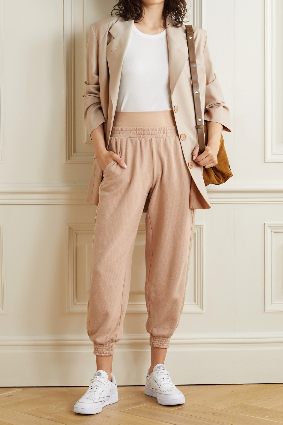 Alice + Olivia Rio layered striped cotton-jersey track pants