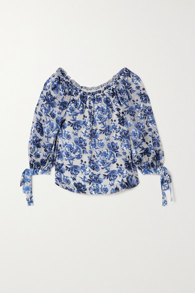 Alice And Olivia Silks ALTA OFF-THE-SHOULDER FLORAL-PRINT CHIFFON BLOUSE