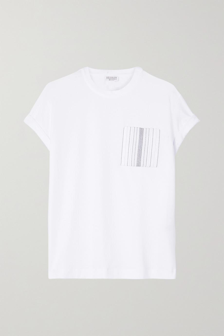 Brunello Cucinelli Bead-embellished stretch-cotton jersey T-shirt