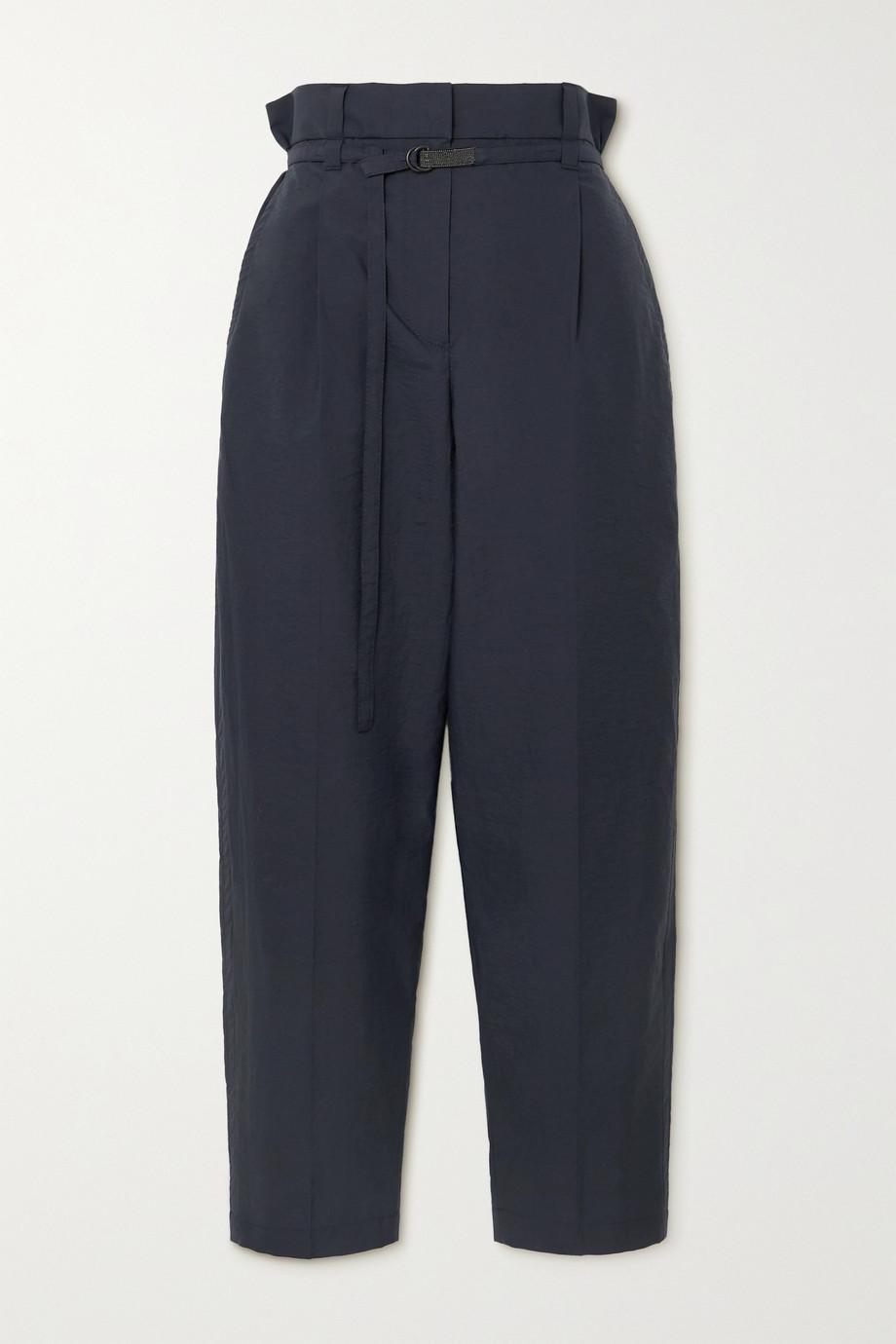 Brunello Cucinelli Pantalon droit en coton mélangé à ceinture