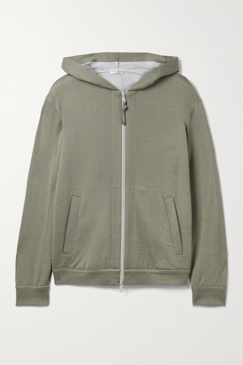 Brunello Cucinelli Bead-embellished cotton-blend hoodie
