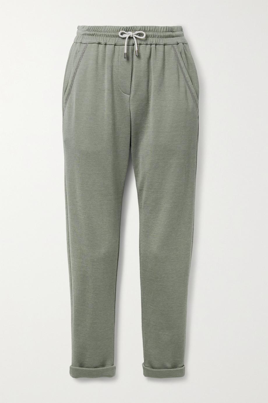 Brunello Cucinelli Bead-embellished cotton-blend jersey track pants
