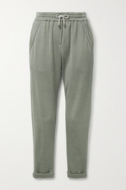 Brunello Cucinelli Bead-embellished cotton-blend jersey track pants