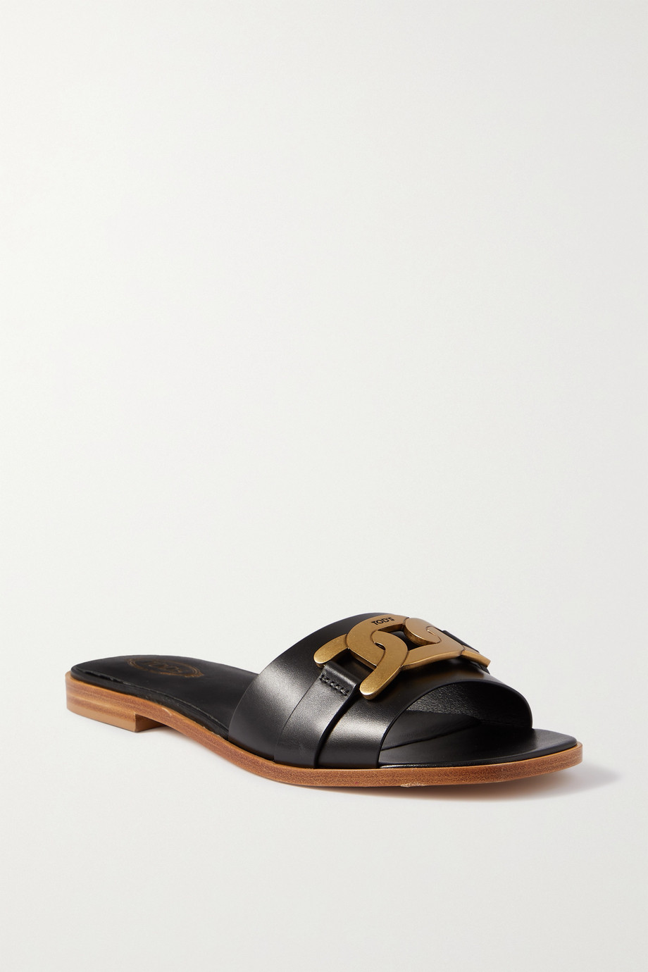 Tod's Chain-embellished glossed-leather slides
