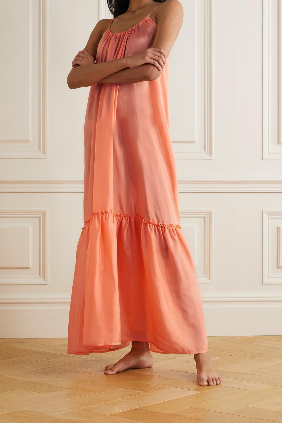 Pour Les Femmes Tiered silk-habotai nightdress