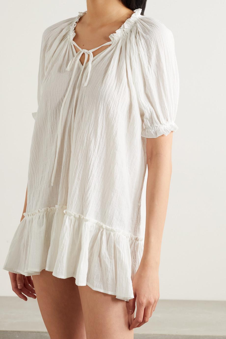 Pour Les Femmes Ruffled crinkled organic cotton-blend gauze nightdress