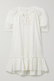 Pour Les Femmes Ruffled crinkled organic cotton-blend gauze nightdress