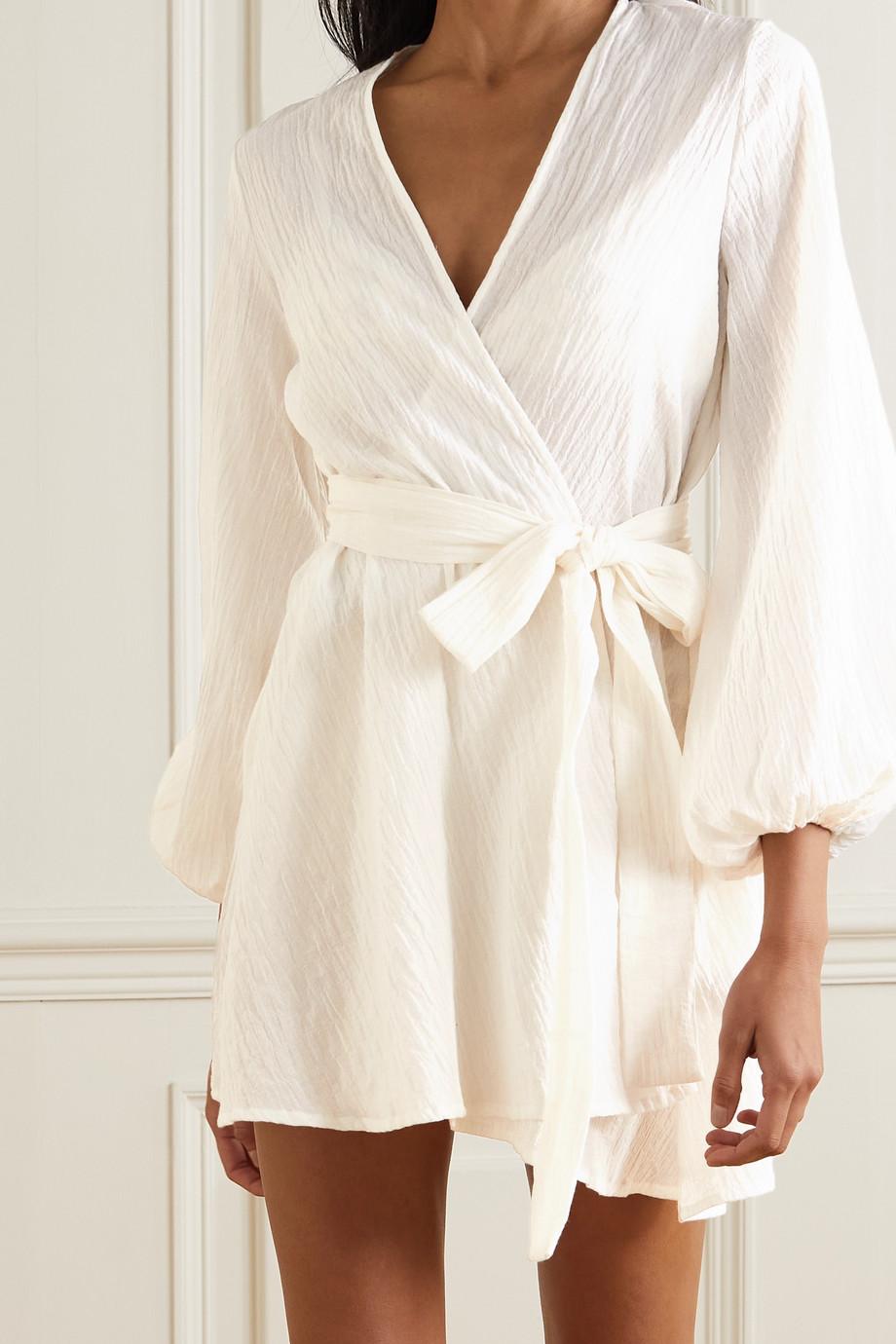 Pour Les Femmes Organic cotton-seersucker mini wrap dress