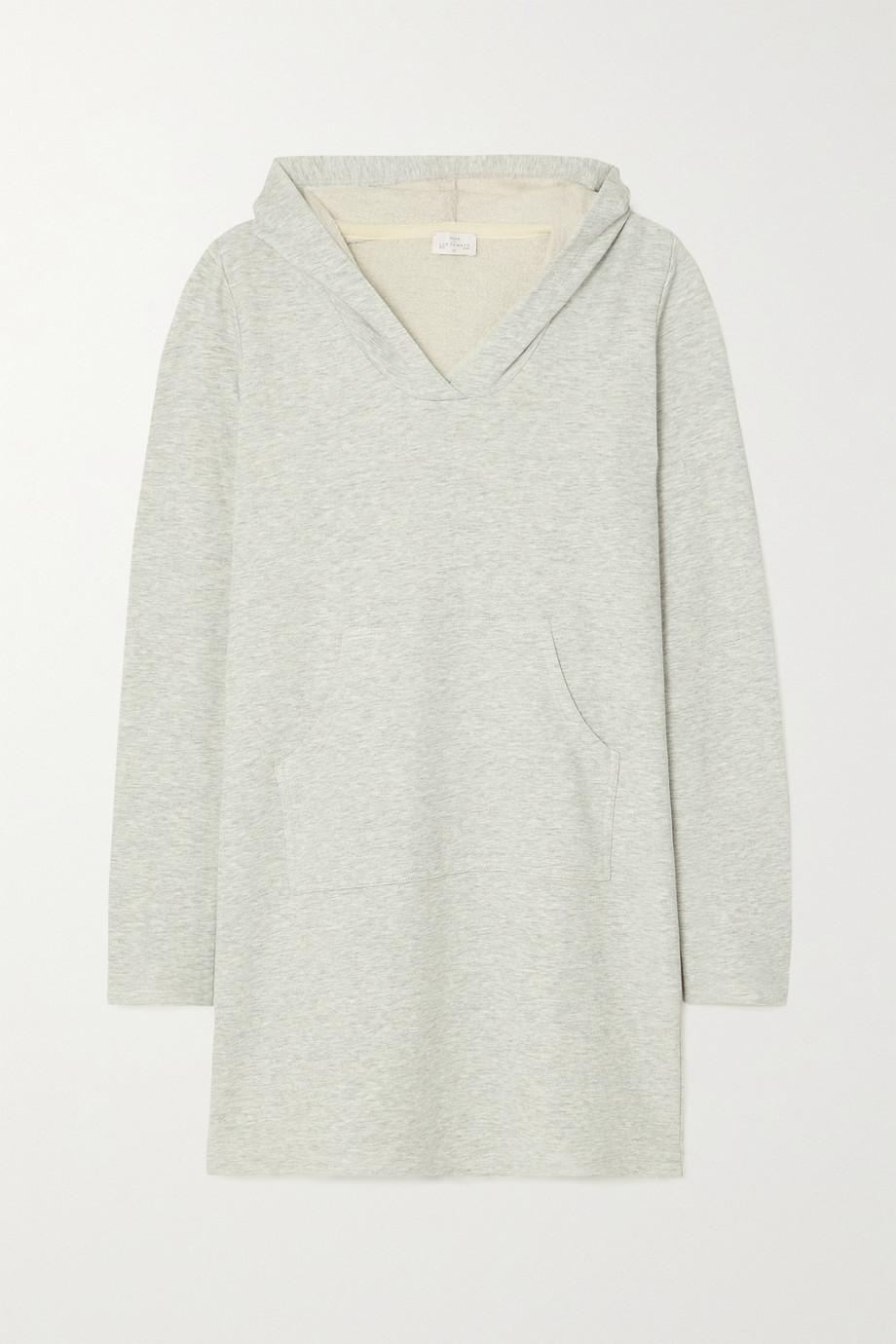 Pour Les Femmes Hooded cotton-blend terry mini dress