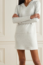 Pour Les Femmes Hooded cotton-blend terry mini dress