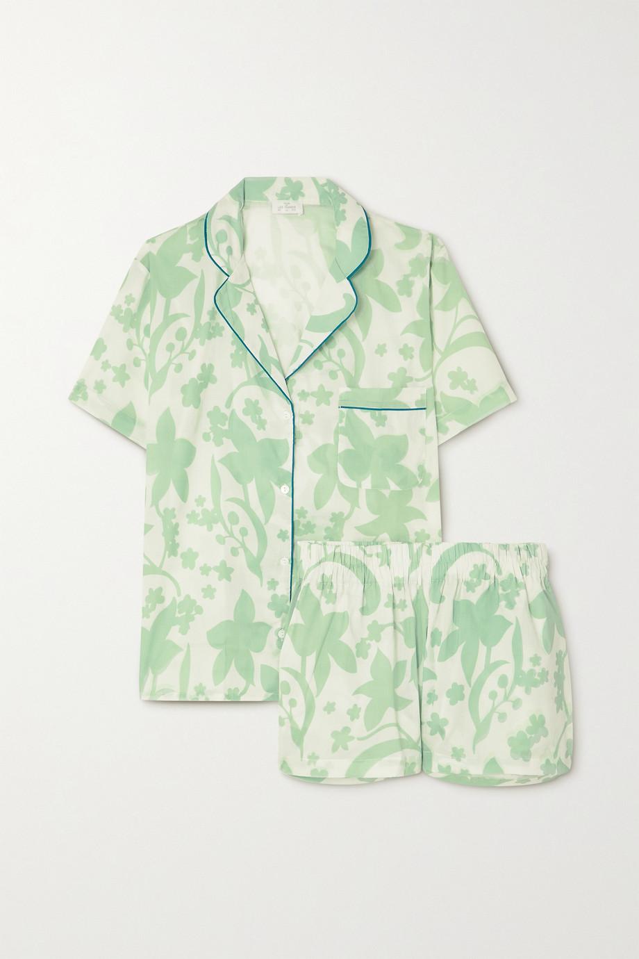 Pour Les Femmes Piped printed cotton-voile pajama set