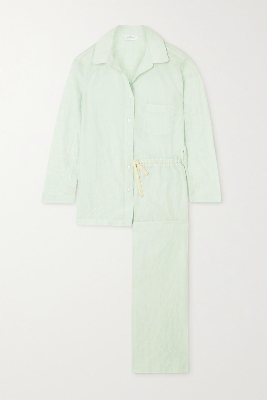 Pour Les Femmes Crinkled organic cotton-voile pajama set