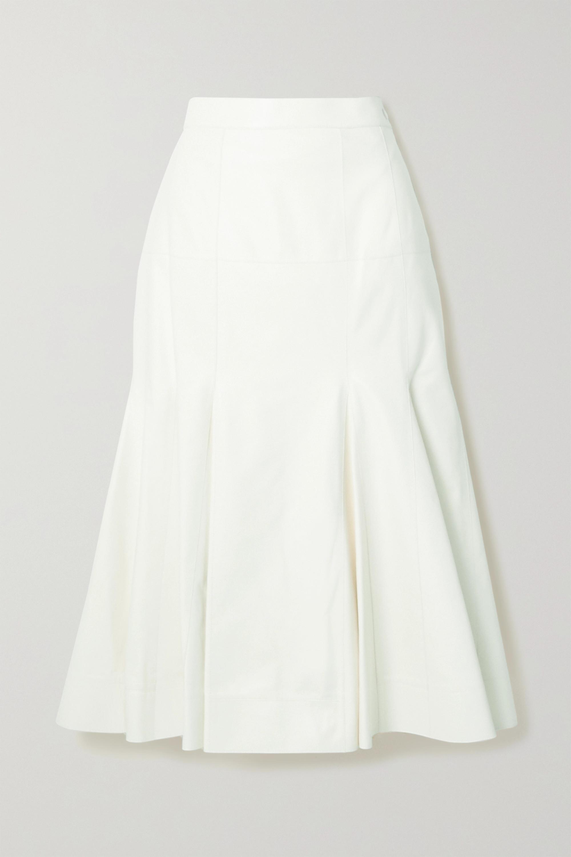 Loewe Pleated leather midi skirt