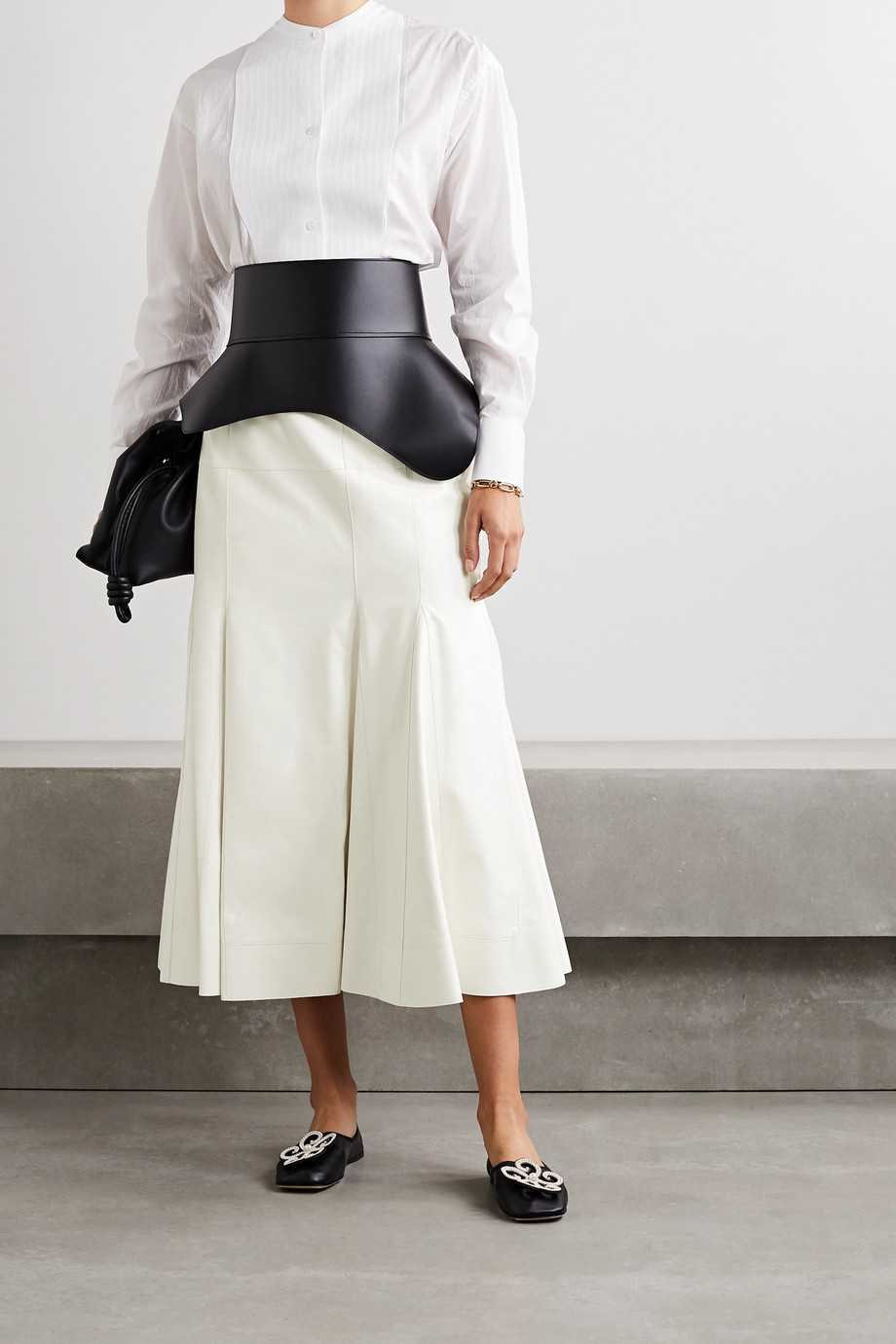 Loewe Pleated leather midi skirt